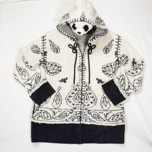New black, white alpaca, wool Anthropologie zip-up